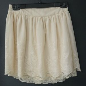 Charlotte Russe Embroidered Lace Ivory Cream Mini
